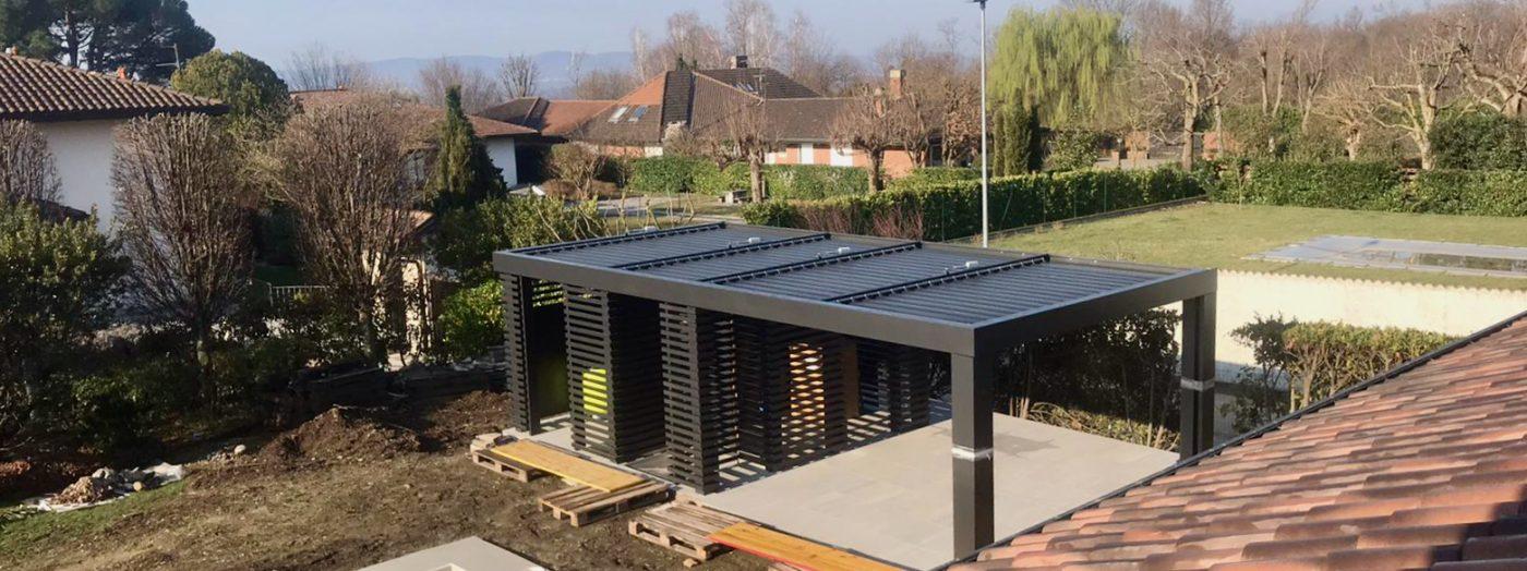 Brise de Soleil bordo piscina in costruzione - Villa, Lago di Varese