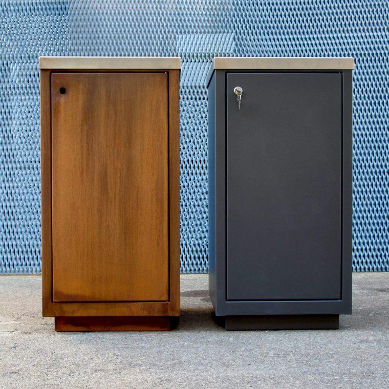 Porta Rifiuti in Acciaio Corten e Alluminio Verniciato
